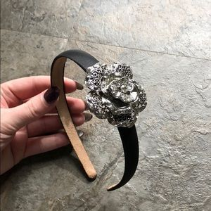 Other - Black headband with silver rose